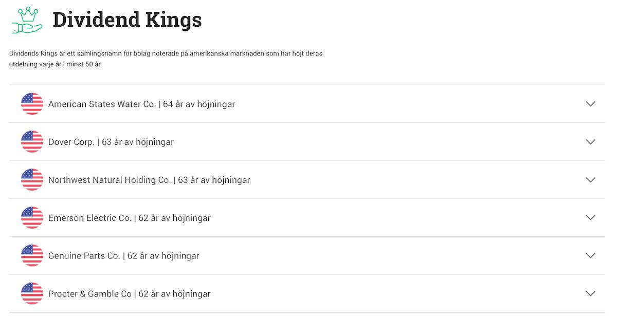 Dividend Kings - amerikanska utdelningsaktier på Avanza