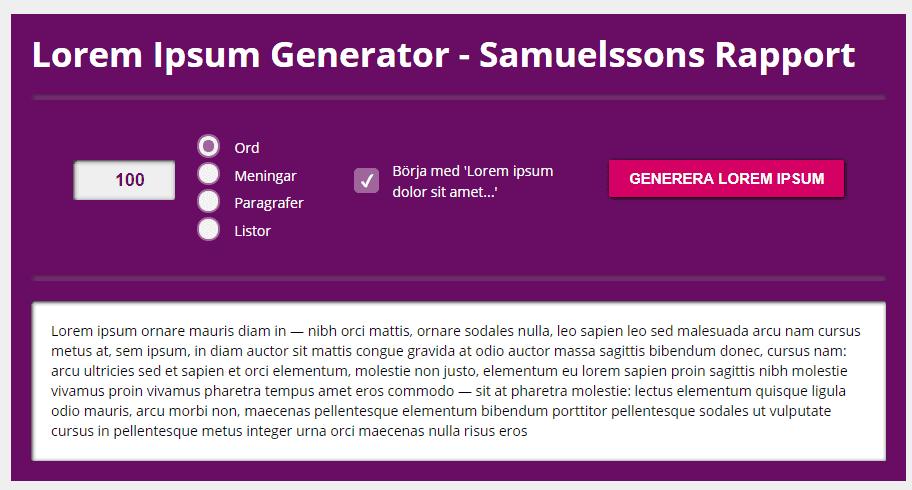 Lorem Ipsum generator - Samuelssons Rapport