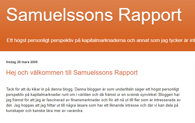samuelssons rapport första inlägget